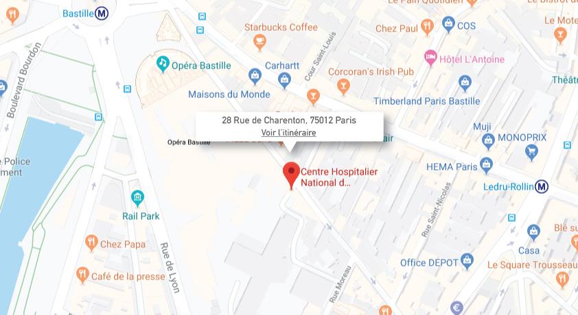 Plan d'accés - Lieu de formation - Hôpital des Quinze-Vingts